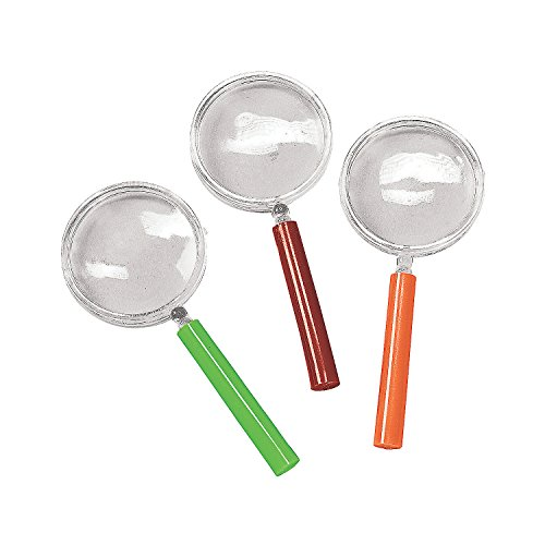 Fun Express - Magnifying Glass W/Colored Handle - Toys - Active Play - Camping Toys - 12 Pieces