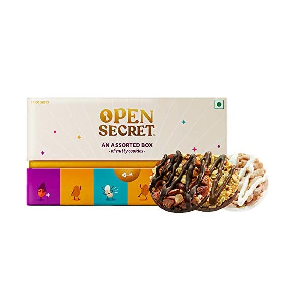 Open Secret Gift Box - Healthy Chocolate Cookies with Nuts | Almond, Cashew, Peanut |No Added Maida, Gift Hamper for