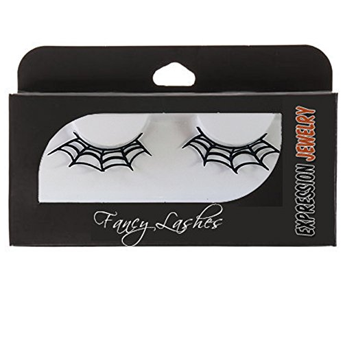 Spider Web Pair of False Paper Eyelashes | Perfect Fashion Accessory for Dressing Up, Cosplay, Masquerades and Halloween Costumes (Spider Eyes Costume)