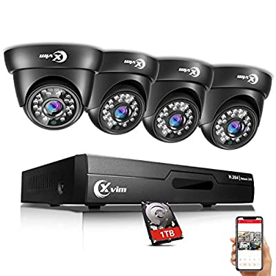 XVIM 8CH 720P Video Security Camera DVR System, 4 HD 1.0MP Indoor Outdoor Dome CCTV Surveillance Cameras with 85ft Night Vision, 1TB Hard Drive