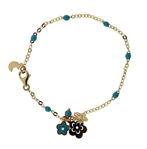 18K Yellow Gold Turquoise enamel Beads with Flowers and Turquoise enamel Flower Bracelet 6 inches by Amalia