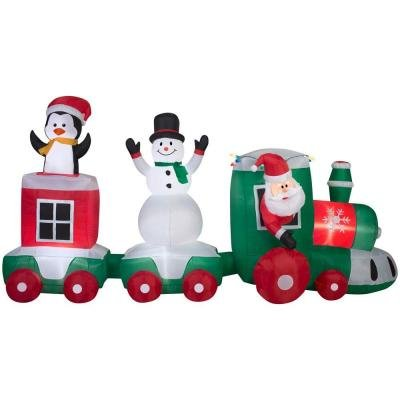 131.89 in. W x 48.82 in. D x 68.90 in. H Lighted Inflatable Car Train Scene by Home Accents Holiday