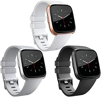 AK para Fitbit Versa Correa, Bandas Repuesto Ajustable Pulsera TPU Sport Accesorio Pulsera para Fitbit Versa Pequeño Grande (3-Pack Black+White+Gray, S): Amazon.es: Deportes y aire libre