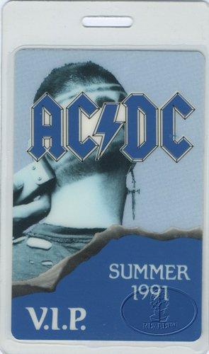 AC/DC 1991 Razor'S Edge Laminated Backstage Pass VIP