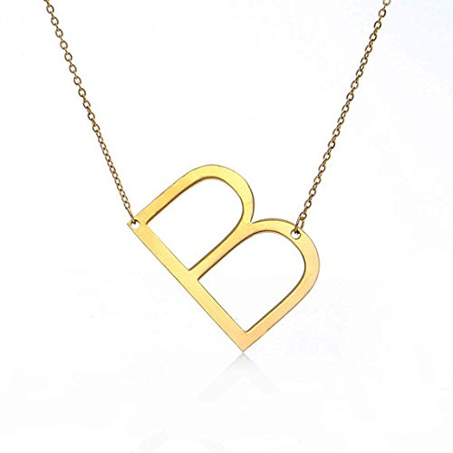 RINHOO Stainless Steel Gold Initial Alphabet 26 Letters Script Name Pendant Chain Necklace from A-Z(B) (Necklace Jewelry Monogram)