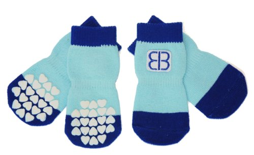 Petego Traction Control Indoor Socks for Dogs, Blue/Light Blue, Medium, Set of -