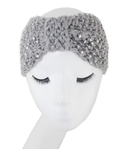 WIIPU rhinestone Knitted Turban Knitted Knotted Mohair Ear Warmer Headband (N74)grey ()