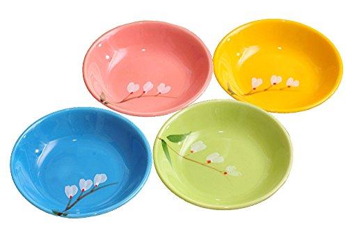 123Arts 4pcs Ceramics Sakura Flower Round Sauce Dish Seasoning Dishes Sushi Dipping Bowl Appetizer Serving Saucers-4 inch