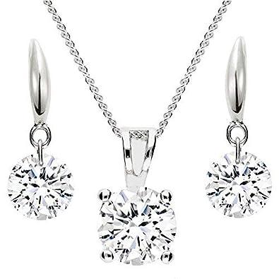 MYA art Damen Schmuckset Kette Ohrringe Hängend 925 Silber mit Zirkonia  Strass Kristall Stein Anhänger Halskette 19bf28feaa