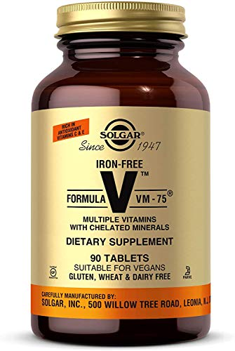Solgar Iron-Free Formula VM-75, 90 Tablets - Multivitamin with Chelated Minerals - Vitamin A, B6, B12, C, D, E - Biotin, Magnesium, Calcium, Zinc - Vegan, Gluten & Dairy Free, Kosher - 90 Servings