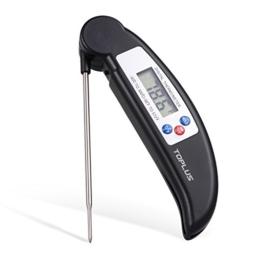 Read Digital Thermometer (Toplus Instant Read Cooking Thermometer Digital Meat Thermometer with Food-Safe Stainless Collapsible Probe for Grill BBQ Kitchen Candy Beef Turkey Milk Bath Water)