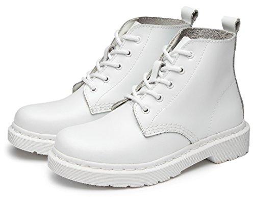 À Sport En Chaussures Lacets Ubeauty Flattie Femme Blanc Bottines Classiques Cuir Bottes Boots wqnFOfv