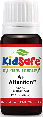 Plant Therapy KidSafe A+ Attention Synergy Essential Oil Blend. Blend of: Petitgrain, Bergamot, Cedarwood Atlas, Grapefruit, Lavender and Vetiver. 10 ml (1/3 oz).
