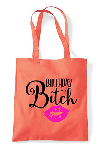 Shopper Tote Birthday Bitch Kisses Coral Bag wq1OxTn1