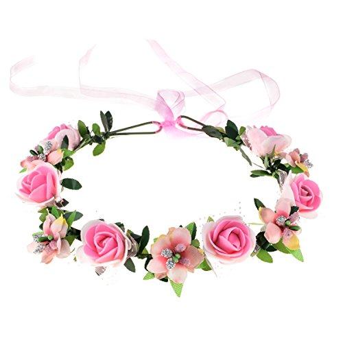 Girl Wreath - June Bloomy Rose Floral Crown Wreath Girls Flower Headband Boho Garland Halo Headpiece (Pink)