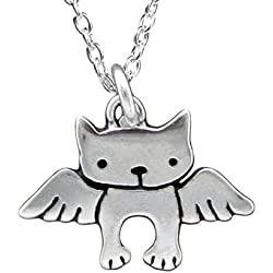 """Sterling Silver Angel Cat Necklace - Cat Memorial Necklace on 18"""" Sterling Chain 925 for Women"""