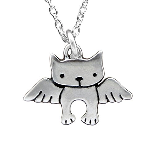- Sterling Silver Angel Cat Necklace - Cat Memorial Necklace on 18