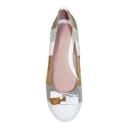 Gold Comfy Womens Shoes Ladies On Multi Heel Multicolour FANTASIA Bow Flats Stripe Front BOUTIQUE Low ® Slip qzEx6Paw7