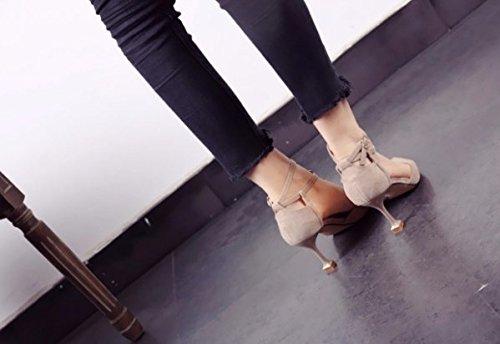 7cm sabbia T alto Sexy calzatura Ajunr singola poco tipo Testa Fine Bocca trentanove Sandali Moda 37 affilato Donna Da scarpe Alla profonde fibbia Colore Tacco tacco Sottile Pwaq7USP