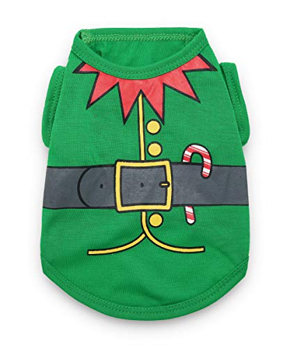 DroolingDog Pet Dog Christmas Shirts Elf Costume Puppy Tshirt for Small Dogs Green -