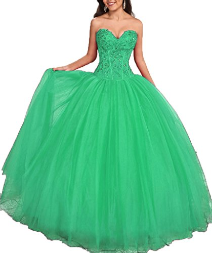 Onlybridal Women's Appliques Tulle Ball Gown Sweet 16 Dresses Quinceanera Dresses 2018 Mint