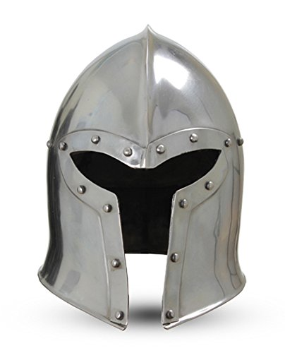 Epic Armoury Men's Steel Barbuta Helmet With Liner Larp Large (Interior Design Halloween Costume)
