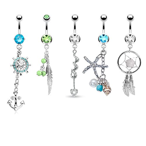 Tribal Set Belly Button Rings