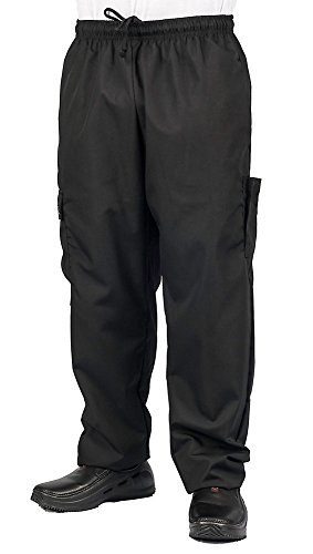 KNG Black Cargo Style Chef Pant, M from KNG