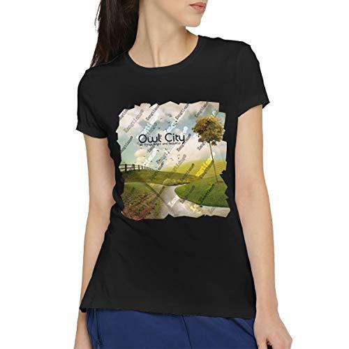 HCULXTIBW Women's Owl City Casual Short Sleeve Fashion T-Shirt Cotton Tops Tees XXL Black