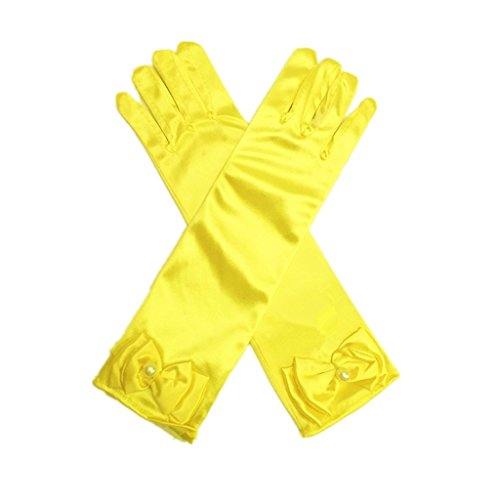 DreamHigh Kids Stretch Satin Long Finger Dress Gloves for Girl Children Party (Yellow)