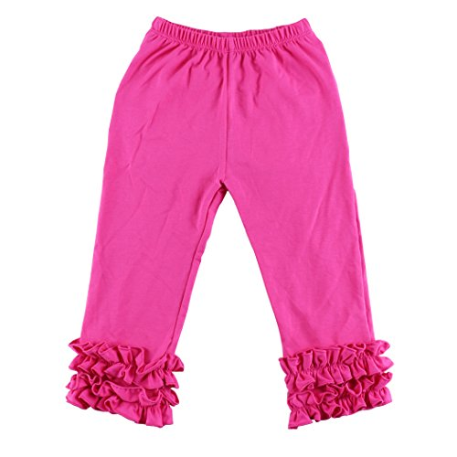 Wennikids Toddler Litle Girls Cotton Ruffle Leggings XX-Large Hot (Hot Pink Ruffle)