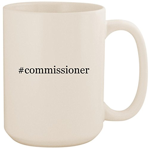 #commissioner - White Hashtag 15oz Ceramic Coffee Mug Cup (County Police White)