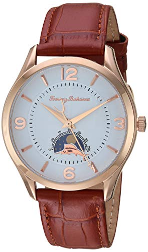 Tommy Bahama Men's Stainless Steel Japanese-Quartz Leather Calfskin Strap, Brown, 19.4 Casual Watch (Model: 37TB00090-03)