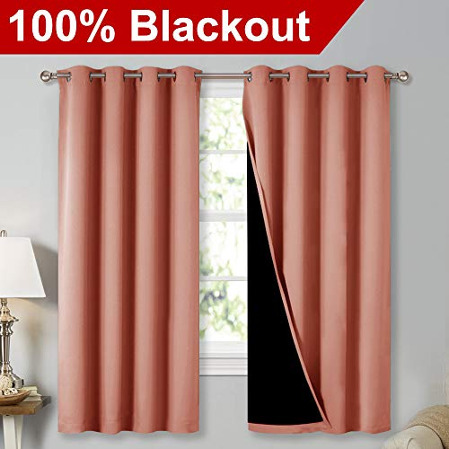 NICETOWN 100% Blackout Lined Curtains, Totally Darkness Drapes with Silver Grommet, Thermal Insulated Drapes for Master Bedroom (Coral, 1 Pair, 52 inches Width x 63 inches Length Each Panel) (63 Inch Thermal Curtain Pair)