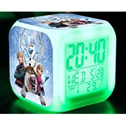 LED 7 Colorful Flash Touch Lights Anna Elsa Olaf Clock Action & Christmas Children Gift Birthday Party-c