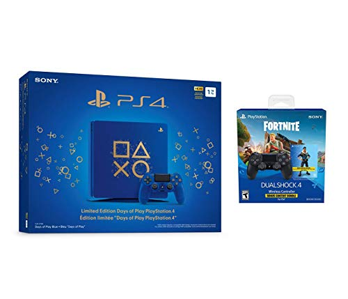 Playstation 4 Fortnite Limited Bundle: Playstation Exclusive Royale Bomber Outfit, 500 V-Bucks, Days of Play Limited Edition Slim 1 TB Console with Extra DUALSHOCK 4 Wireless Controller – Black