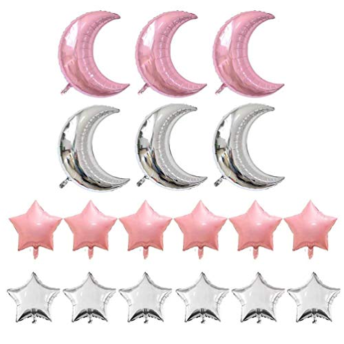 KIYOOMY Crescent Moon Shaped Mylar Balloons 36 inch Moon and Star Party Balloons Pack of 18 for Birthday Party Anniversary Celebrate Parties Wedding Baby Shower Decorations (Pink and Silver)