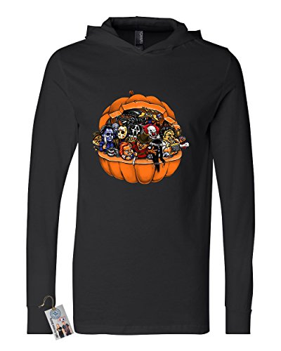 Scary Halloween Customs (Pumpkin Halloween Scary Characters Womens Mens Long Sleeve Hooded T Shirt Black)