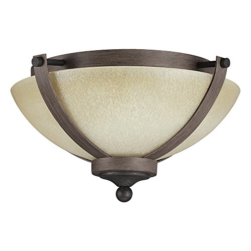 Sea Gull Lighting 7580402-846 Corbeille Two-Light Flush Mount Ceiling Light with Creme Parchment Glass, Stardust Finish