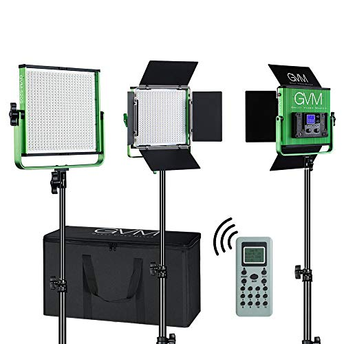 GVM Led Video Lighting Kit, 3 Pack with Digital Screen High Brightness Video Lighting with Stand Dimmable Bi-Color Led Light Panel for YouTube Studio Outdoor Photography Video Shooting (Green)