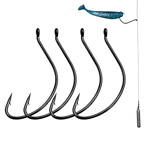 QualyQualy Offset Worm Hook Wide Gap Fishing Hooks Saltwater Freshwater Wacky Rig Drop Shot Rig Fishing Hooks for Bass 50 pcs/Pack (50pcs 1/0#)