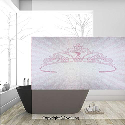 3D Decorative Privacy Window Films,Beautiful Pink Fairy Princess Costume Print Crown with Diamond Image Art Decorative,No-Glue Self Static Cling Glass film for Home Bedroom Bathroom Kitchen Office 36x -