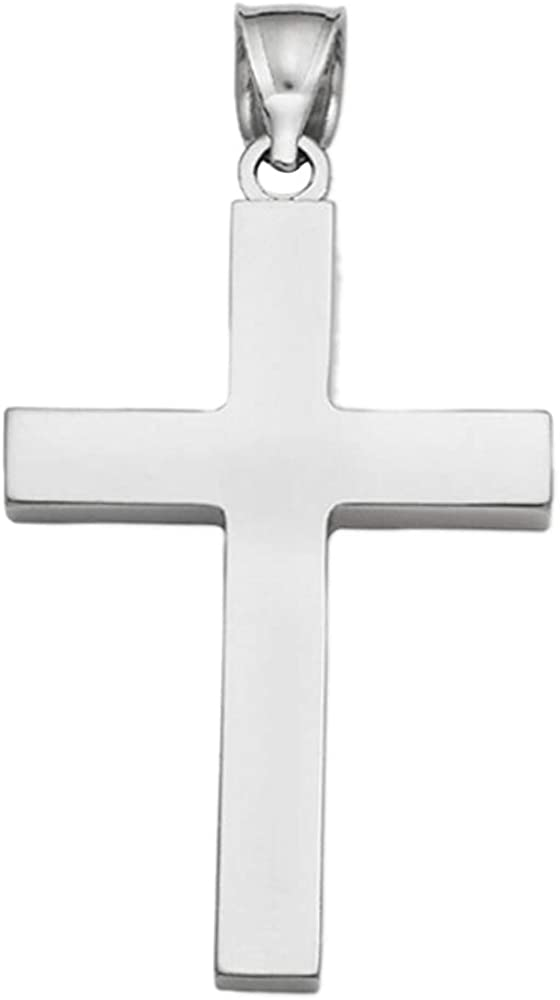 Solid 10K White Gold Mens Cross Pendant Necklaces
