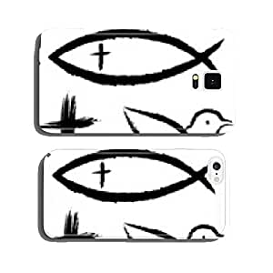 Vector set: 3 Christian symbols: crucifix, fish, pigeon cell phone cover case Samsung S6