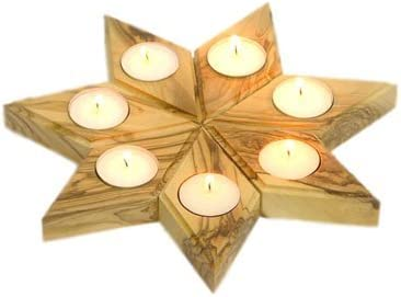 zytoon Olive Wood Diamond Shape Candle Holders Set