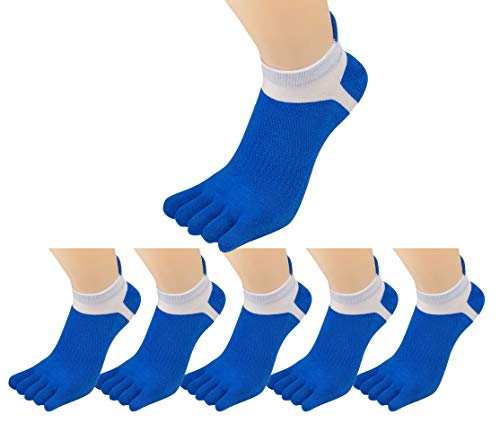 6 Pack Men Summer Low Cut Athletic 5 Toe Finger Socks No Show Mesh Wicking