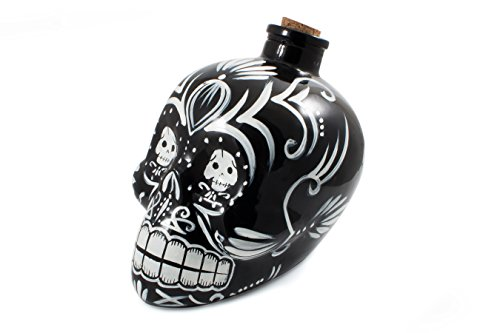 Bar Amigos Black - Mexican Skulls Sugar Art Shaped Themed Glass Top Decanter & Cork Stopper Can Be Used For Wines And Spirits And More - Inspired By The Mexician -