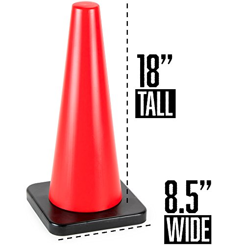 18'' High Hat Cones in Fluorescent Orange with Black Base for Indoor/Outdoor Traffic Work Area Safety Marker & Agility Sport Training by Bolthead Industrial (Single) by Bolthead Industrial (Image #6)