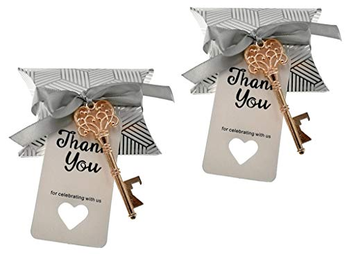 (50pcs Skeleton Key Bottle Opener Wedding Party Favor Souvenir Gift with Candy Boxes,Thank You Escort Tag Cards and Ribbon(Rose Golden Keys))