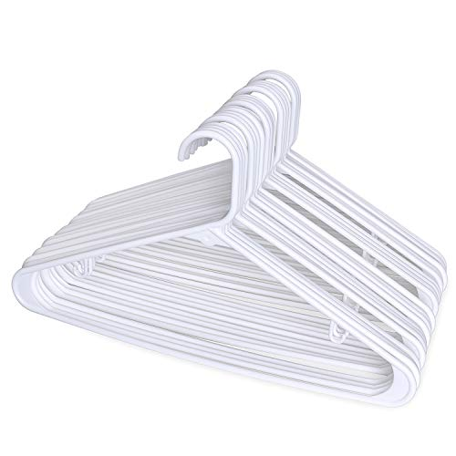 (HOUSE DAY Tubular Standed Hangers White Plastic Hangers 16.5 Inch Light-Weight Adult Hangers Pack of 24)